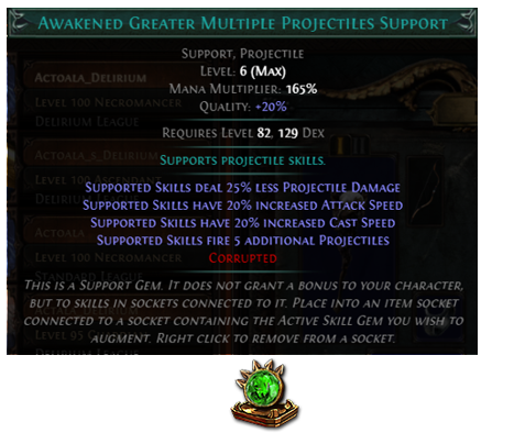 Awakened Greater Multiple Projectiles Support