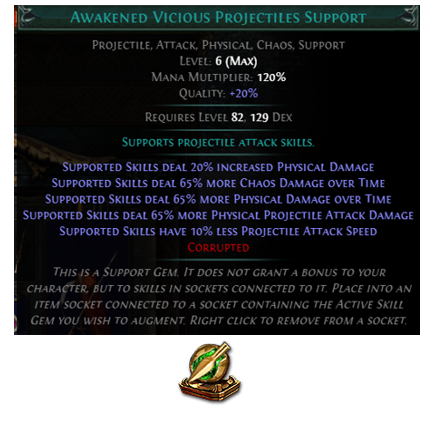 Awakened Vicious Projectiles Support