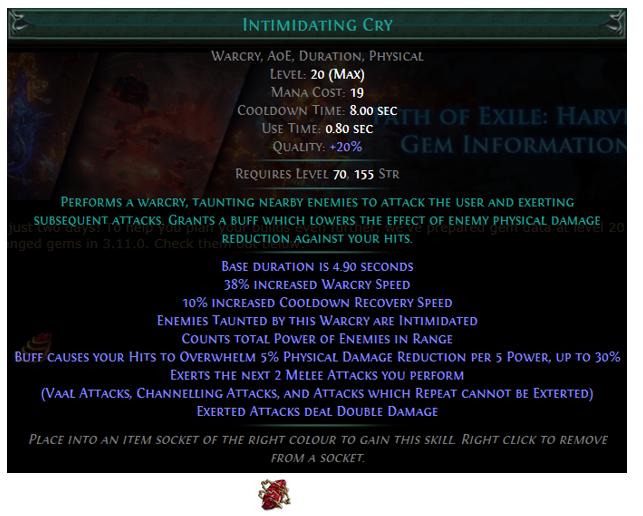 Intimidating Cry Skill