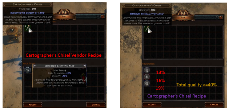 Poe Chisel Recipe Cartographer S Chisel Improves Maps Quality Vendor Recipes