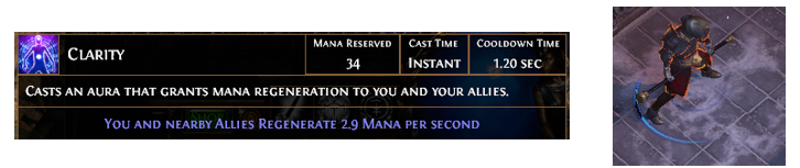 Poe Clarity Aura Skill Gem Best Level Clarity Support Gems Farming The effect is multiplicative with the effects of x% reduced mana reservation modifiers. poe currency