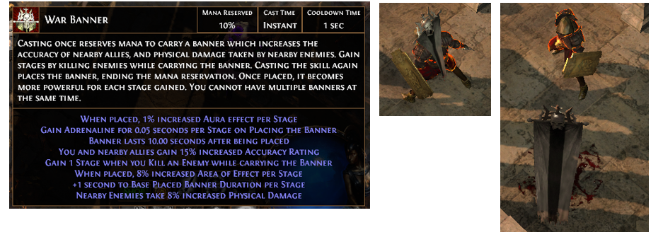 War Banner Poe Aura Skill Gem Support Gems Build Aura Effect Buffs that reserve mana like the heralds and arctic armour are not technically classified as auras for ascendancy calculations. poe currency