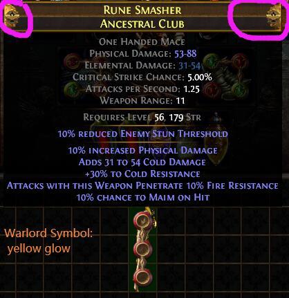 Warlord Symbol: yellow glow