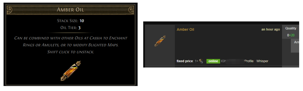 Amber Oil Price