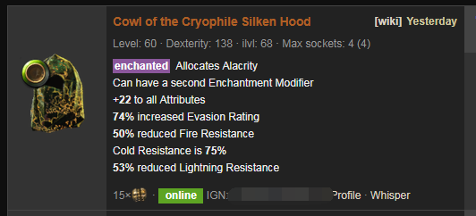 Cowl of the Cryophile Price