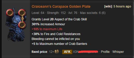 Craiceann's Carapace Price