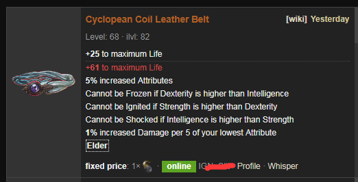 Cyclopean Coil Build Guide & Price - PoE Leather Belt