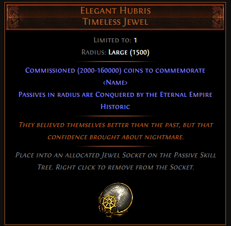 PoE Elegant Hubris Timeless Jewel Effect & Price