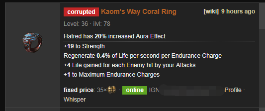 Kaom S Way Poe Price Build Coral Ring Optimized for neversink's filter and offers a rich customization ui for new and veteran poe players. poe currency