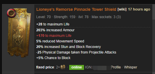 Lioneye's Remorse Price