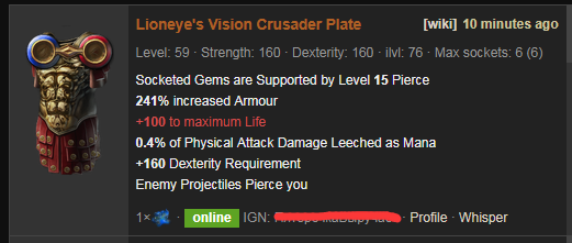 Lioneye's Vision Price