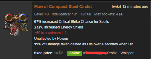 Maw of Conquest Build & Price - PoE Steel Circlet