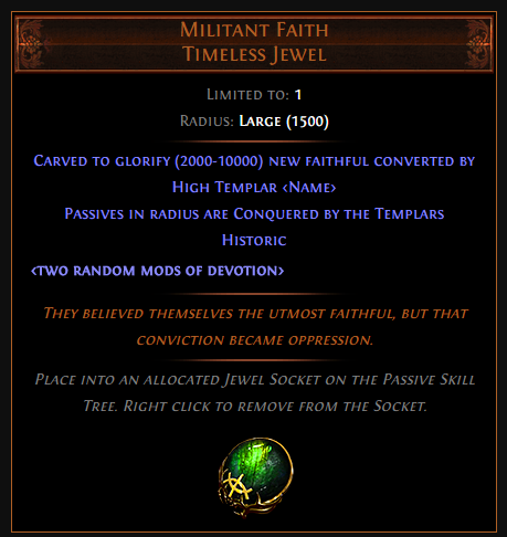 Militant Faith Timeless Jewel - PoE Effect & Price
