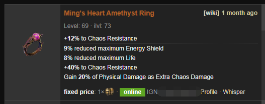 Ming's Heart Price