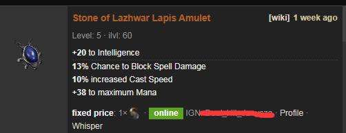 PoE Stone of Lazhwar Price