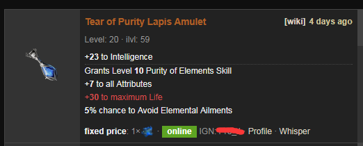 Tear of Purity Price