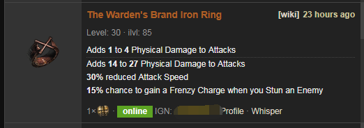 The Warden's Brand Price
