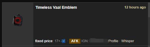 Timeless Vaal Emblem Price
