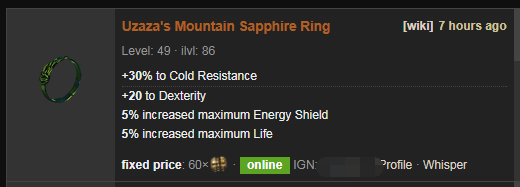 Uzaza's Mountain Price