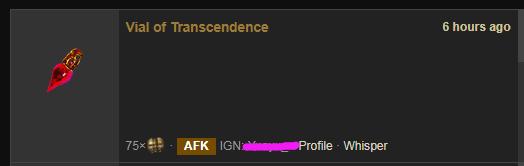 Vial of Transcendence Price