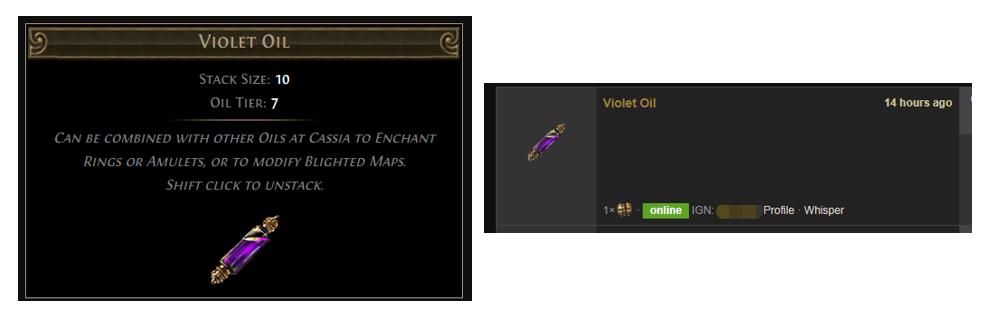 Violet Oil Price