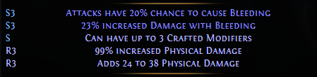 3 crafted modifiers PoE