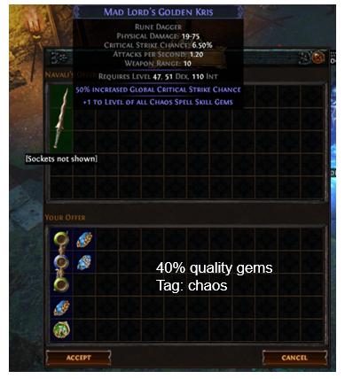 all Chaos Spell Skill Gems