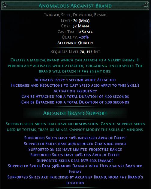 Anomalous Arcanist Brand PoE