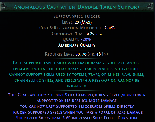 Anomalous Cast When Damage Taken Support Poe Cannot support skills used by. poe currency