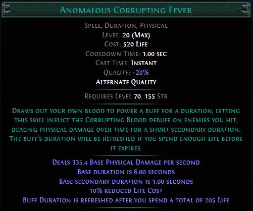 Anomalous Corrupting Fever PoE
