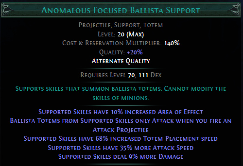 Anomalous Focused Ballista Support PoE