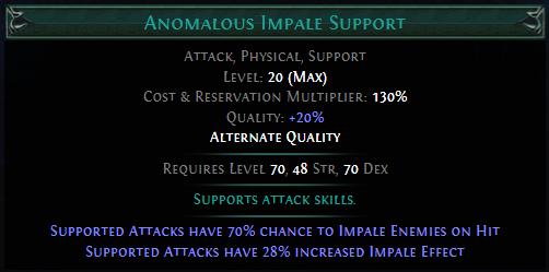 Anomalous Impale Support PoE