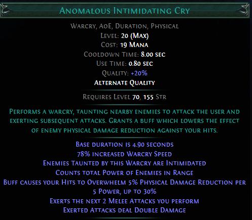 Anomalous Intimidating Cry PoE