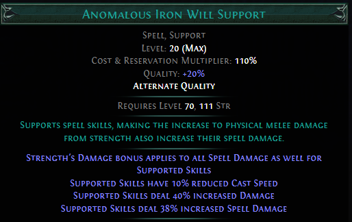 Anomalous Iron Will Support PoE
