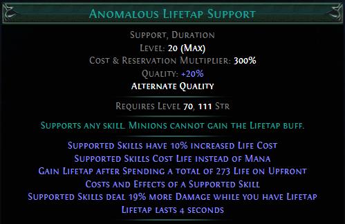 Anomalous Lifetap Support PoE