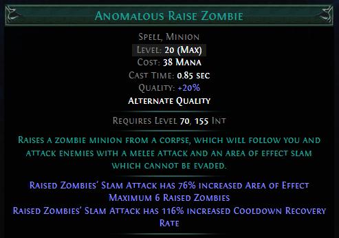 Anomalous Raise Zombie PoE