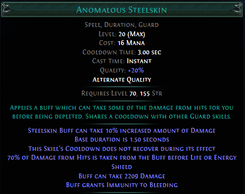 Anomalous Steelskin PoE