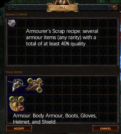 Armourer's Scrap 40% quality Recipe