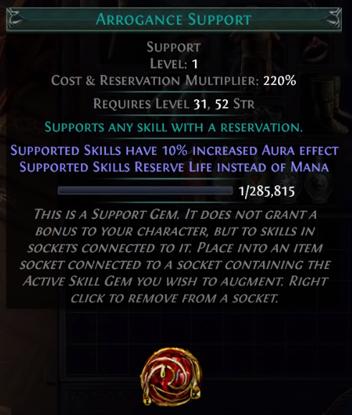Arrogance Support PoE