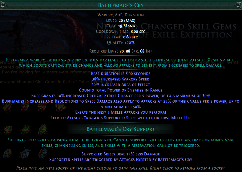 Battlemage's Cry Level 20 with 20% quality