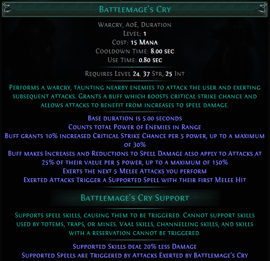 Battlemage's Cry PoE