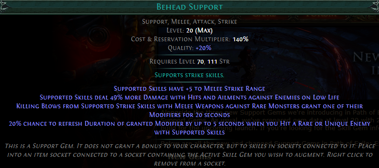 Behead Support Level 20 with 20% quality