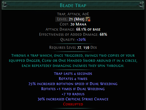 Blade Trap Level 20 with 20% quality