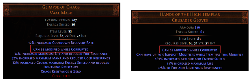 Can be modified while Corrupted