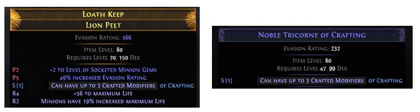 Can have up to 3 Crafted Modifiers Example