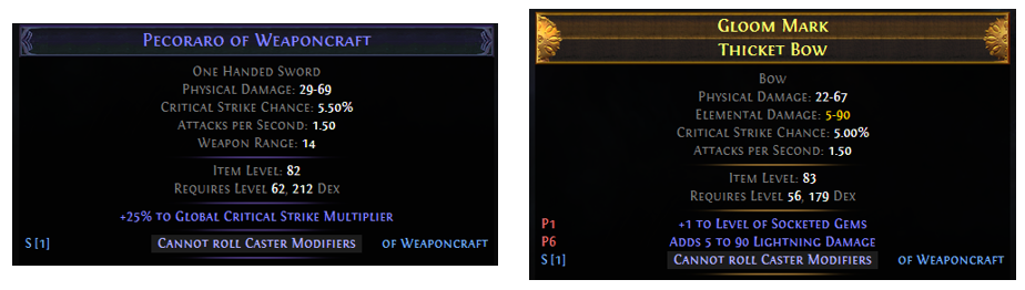 Cannot roll Caster Mods