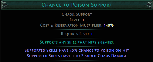 Chance to Poison Support PoE