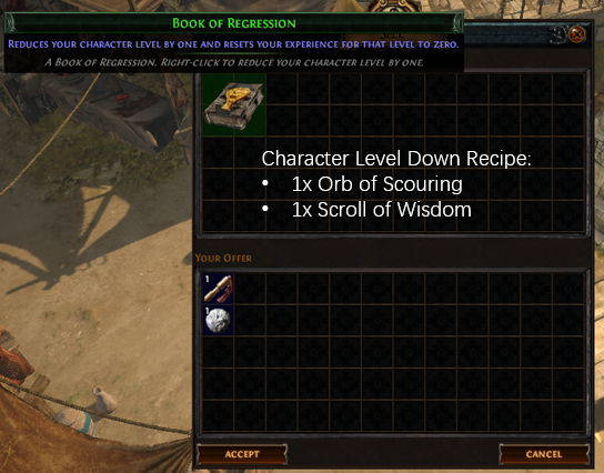 Character Level Down Recipe
