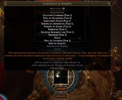 Place the Chronicle of Atzoatl into map device