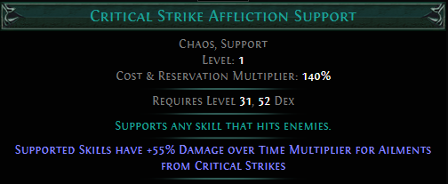 Critical Strike Affliction Support PoE